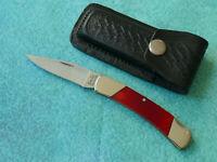 CLARK CUTLERY USA Red Smooth Bone Lockback Knife - NEW Salem Indiana and Sheath