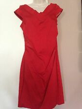 Women's New York & Company Red Ruched Waist Front and Back V-Neck Dress in Sz 12