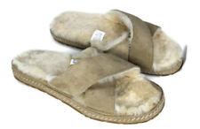 LL Bean Womens 9M Tan Suede X-Strap Fleece Lined Slippers Scuffs Hard Sole