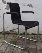 TECTA D25 Krag-Stuhl Freischwinger m. Armlehnen Tectageflecht Kunststoff schwarz
