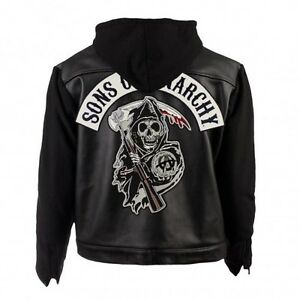 SOA Sons of Anarchy Leather Hooded Jacket | SOA Biker Hooded Jacket Highway Gang