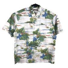 Tori Richard Mens Honolulu Hawaiian Shirt Island Scene Cotton Lawn Size XL
