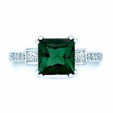 Green Tourmaline Diamond Ring 18K White Gold Cocktail Engagement Step Square