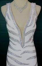 NEW $700 Jovani White Rhinestone Dress Long Prom Formal High Slit Size 8 V Neck