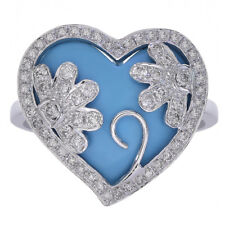 4.90 Carat Turquoise & Diamond Heart Flower Design Ring 14K White Gold