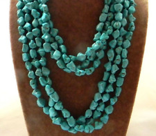 """Natural Blue Irregular Turker Turquoise Gemstone Beads Necklace Long 100""""AAA"""