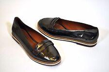 New NWOB SCHUTZ bronze metallic Patent Leather Loafers Flats Shoes Sz 36 / 5 US