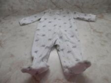 Baby Boy 3 Months Carters White Gray Elephants Terry Zip Up Footed Sleeper
