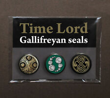 Doctor Who badges (1 pack of 3) Time Lord Gallifreyan Seals – Rassilon – Master