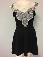 Valley Girl black white lace  panel fit and flare dress size M Women Cocktail