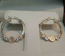 Modern Floral  Hoops 14k Solid Yellow White Rose Gold  Earrings For 15 Birthday