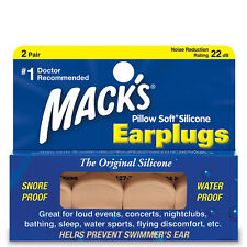 2 pairs Ear Plugs Pillow Soft Silicone Putty Mack's Snore Water Proof Swimmers