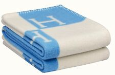 HERMÉS AVALON BABY WOOL CASHMERE THROW BLANKET BLUE & WHITE. BRAND NEW WITH TAGS