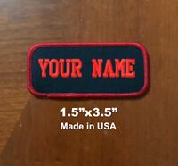 "Custom Embroidered Patch Name Tag Motorcycle Biker Badge Black/Red 1.5""x3.5"""
