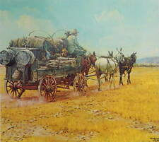 Cowboys Supply Wagon pulled by Mules,  by Kenneth Wyatt