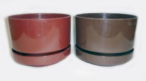 "2 Vtg Retro Mid-Century Modern INGRID LTD Planters/Pots Melamine Plastic 9"" Dia"