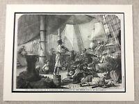 1855 Originale Antico Stampa Pirati Nave Marittimo Nautico Francese Scuola