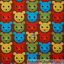 BonEful Fabric Fq Cotton Quilt Baby Boy Lion Cat Tiger Brown Red Blue Vtg Calico
