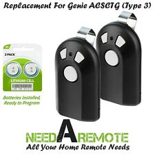 2 For Genie Intellicode Model ACSCTG Type 3 Garage Door Opener Remote Control