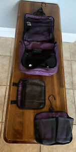 LL Bean Purple Nylon Travel Bag Hanging Shower Caddy Toiletry Organizer Zip Up