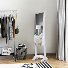 Freestanding Mirrored Jewelry Cabinet Armoire Shelf LED w/ Stand White