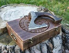 Viking bearded axe with box, small carbon steel LARP axe, handmade hatchet