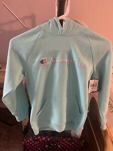 CHAMPION Athletic Wear Girls Youth Hoodie Sweatshirt Medium Light Sea Green NEW