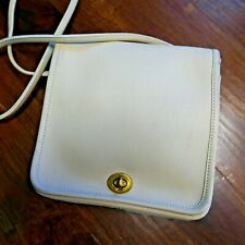 "Vintage 80's COACH Crossbody Handbag Small White/Cream Leather 7"" x 8"" x 2.5"""