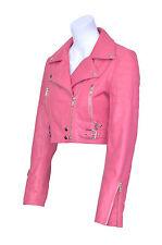 Missy Ladies women's Pink Short Cropped Biker Gothic Punk Nappa Leather Jacket