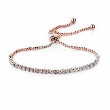Rose Gold Solitaire Friendship Bracelet with Crystals from Swarovski®