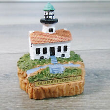 Vtg Miniature Lighthouse Figurine Old Point Loma, Ca Resin with Brass Name Plate