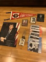Lot of 13 JFK John F. Kennedy Items - Pennants,Photos,Cards,Light,Plaques