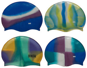 CHEX Strong Silicone Abstract Adults Swimming Hat Blue Pink Purple White Yellow