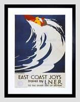 TRAVEL LNER RAIL SURF WAVE UK VINTAGE RETRO ADVERT FRAMED ART PRINT B12X1611