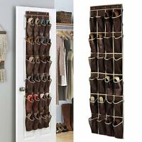 24 Pockets Over Door Shoe Organizer Tidy Rack Hanging Storage Unit Space Holder