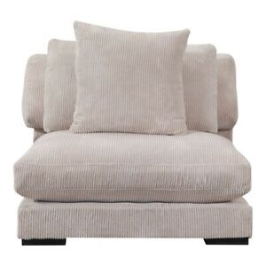 "43"" L Sectional Slipper Chair Armless Sofa Off White Cream Corduroy Eucalyptus"