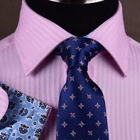 Pink Mens Formal & Business Dress Shirt Herringbone Twill Striped Floral Style