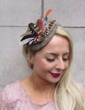 Harris Tweed Orange Brown Pheasant Feather Fascinator Races Headband Vtg  4095 ea543c8a52a5