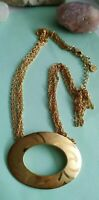 Vintage goldtone fifth avenue collection FAC oval pendant necklace