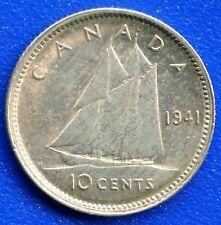 1941 Canada Silver 10 Cent Coin (2.33 grams .800 Silver)