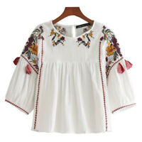 Lady Chemise Top Flower Embroidery Retro 3/4 Sleeve Baggy Fit Boat Neck Blouse