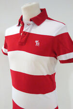 Polo bianca e rossa ABERCROMBIE & FITCH Small S Muscle 100% cotone
