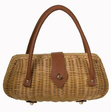 Banned Erin Handbag 50s Wicker Rattan Bag Tiki Rockabilly Vintage Purse Natural