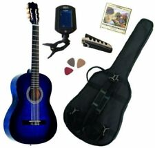 Pack Guitare Classique 3/4 (8-13ans) Pour Enfant Avec 5 Accessoires (bleu)