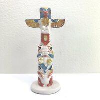 "Totem Pole Porcelain Ceramic Statue Hand Painted Japan 7"" tall Vintage"