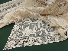 """Antique Tablecloth ~ Italian Figural Knotted Filet ~ Natural Linen 60"""" / 152cm"""