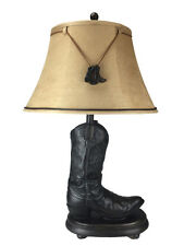 """NEW 28"""" Boot Lamp 5x8"""" Base Large TAN SUEDE Bell Shade DUAL BOOT Ornaments"""
