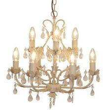 Vintage White & Gold 9 Light Ceiling Chandelier with Leaf Design & Jewels Modern