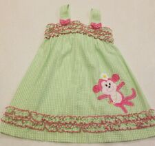 Emily Rose Baby Girl Kids Dress - Size 5T - Monkey - Pink And Green