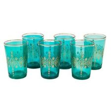 Moroccan Tea Glasses and Candle Holder, Turqoise Set of 6